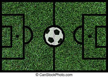 fútbol, futbol, tono, con, Pelota,
