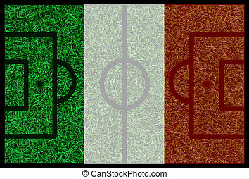 Football field textured by Italy national flags on euro 2016