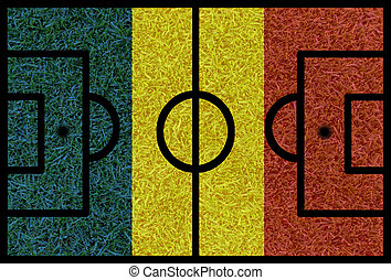 Football field textured by Romania national flags on euro...