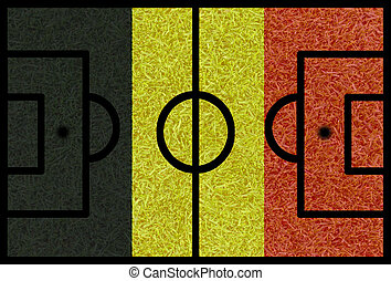 Football field textured by Belgium national flags on euro...