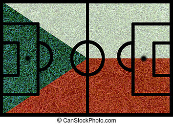 Football field textured by Czech Republic national flags on...