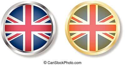 UK flag button with silver and gold