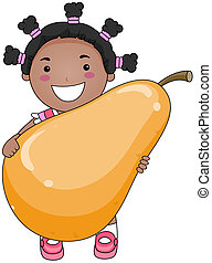 Girl with Pear with Clipping Path