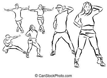 duett, quadril, coreografia, três, coloração, pulo, poses,...