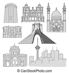 Tehran Famous Buildings, Outline Sketch, Vector Hand Drawn...