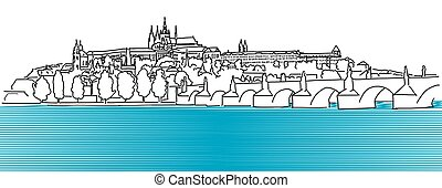 Prague Hradschin Vector Outline Sketch, Hand Drawn Artwork