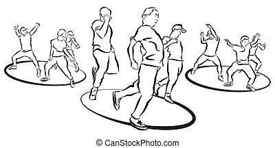 quadril, trio, coloração, coreografia, dançarino, pulo,...