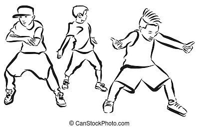 quadril, página, coloração, meninos, três, coreografia, pulo
