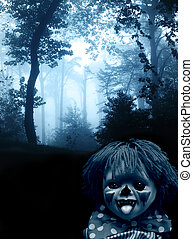 Spooky clown in the dark foggy forest