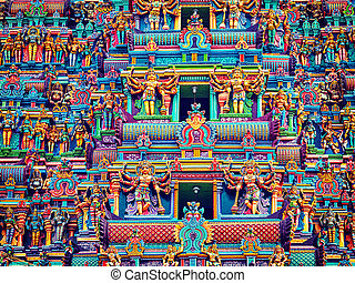 Sculptures on Hindu temple tower - Vintage retro effect...