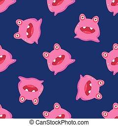 Pink Alien Seamless Pattern