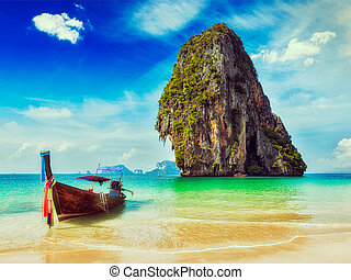 Thailand tropical vacation concept background - Vintage...