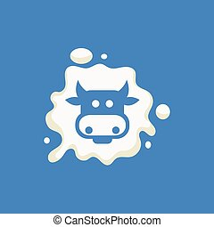 Cow Head Milk Product Logo Cool Flat Vector Design Template...