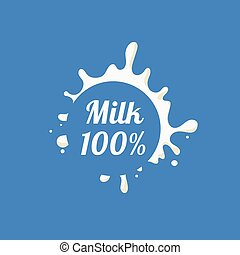 Round Splash Milk Product Logo Cool Flat Vector Design...