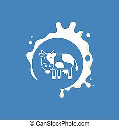 Cow Milk Product Logo Cool Flat Vector Design Template On...