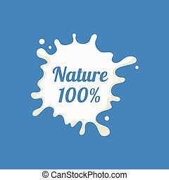 Nature Milk Product Logo Cool Flat Vector Design Template On...