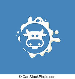 Cow Face Milk Product Logo Cool Flat Vector Design Template...