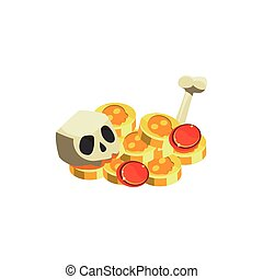 Gold And Scull Toy Icon - Gold And Scull Colorful Vector...