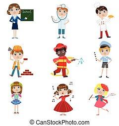 Children Future Profession Set Of Simple Design...