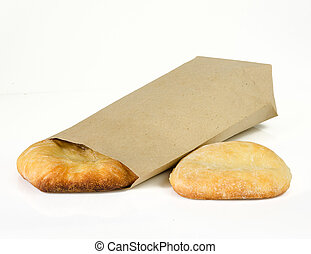 pita bread isolated on white background with paper package