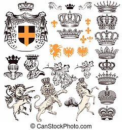 Collection or set of vintage styled heraldic elements horses unicorn lion shields crowns and other.eps