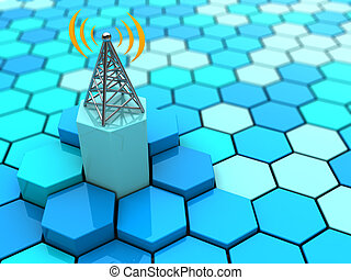 antenna - abstract 3d illustration of hexagons network and...