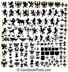 Mega set or collection of vector high quality shapes for heraldic projects.eps