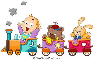 Baby on Train with Clipping Path