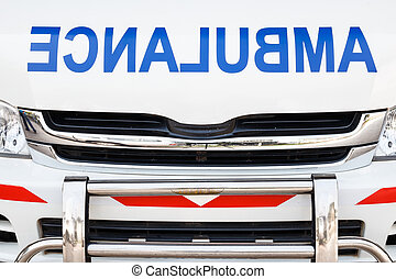Radiator bonnet of ambulance ( reverse alphabet )