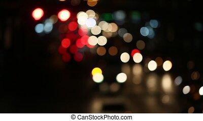 Defocused night lights of the motorway.