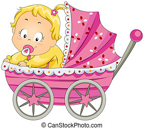 Baby Girl in Stroller with Clipping Path