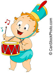 Baby Drummer with Clipping Path