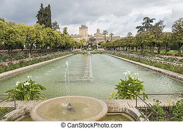Gardens of Alcazar de los Reyes Cristianos in Cordoba, Spain