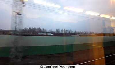 View from a window of quickly going train - View of the wood...