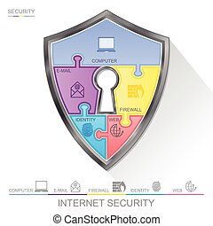 Internet security shield puzzle with key hall, vector