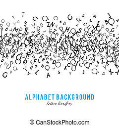 Abstract black alphabet ornament frame isolated on white...