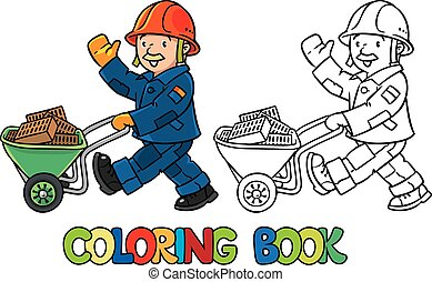 Coloring book of funny worker with cart - Coloring picture...