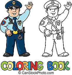 Funny policeman. Coloring book - Coloring picture or...