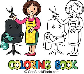 Funny hairdresser. Coloring book. - Coloring book of funny...