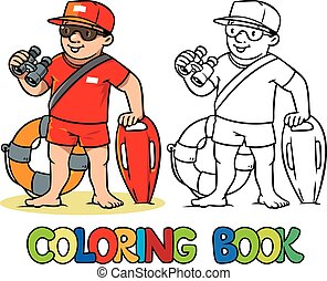 Funny lifeguard Coloring book - Coloring picture or coloring...