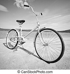Old-fashioned bicycle - monochrome picture - Old...