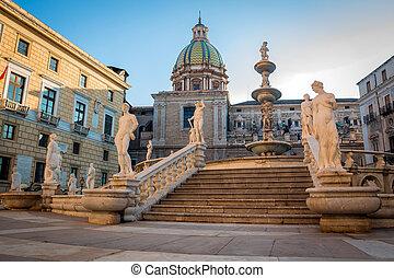 Fontana Pretoria, Sicily - Palermo Fontana Pretoria, Sicily,...