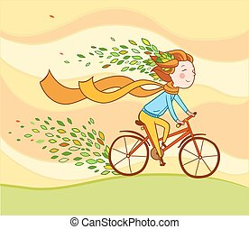 Girl on bike, autumn background. - A girl riding a bicycle...