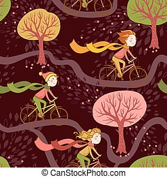 Girl rides a bicycle to school. - Seamless pattern with...
