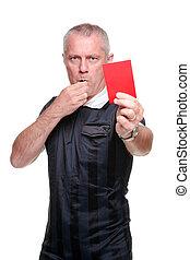 futebol, árbitro, mostrando, vermelho, cartão