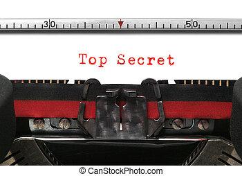 Typewriter Top Secret - Top Secret on an old typewriter in...