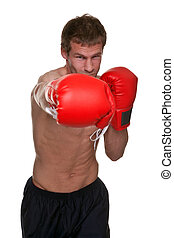 Male boxer knockout punch - Male boxer delivering a knockout...