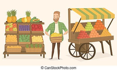 Farmers market. Street food - Farmers market. Local farmer...