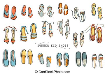 Womens summer shoes - Vector set of womens summer eco shoes