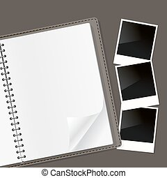 photo frames composition on open notebook with spiral. vector